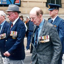 Anzac Day Brisbane 2000 (photo courtesy Craig Smith)<br /> L. to R. front.Joe Brown, DFM, Col Wheatley, Harry (Cherry) Carter, DFC., with camera, Linda Van Uitregt, (daughter of Laurie Woods) behind and to her left, Don Cummings.