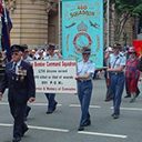 Anzac Day, Brisbane, 2004 (courtesy Peter Johnson (467–463 squadron) his father, Max, seated in the front seat of jeep)