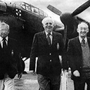 Bill Moffatt (right) with Bert Newton (left) and Arthur Whitmarsh after they had flow into Binbrook again in a Lancaster for the 460 Squadron reunion in 1982.