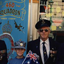 Anzac Day 1993 in Brisbane, Jim Petersen, DFM., Laurie Woods, DFC., ( grandsons Jarod & Gene), Roy Brough, Joe Brown, DFM., Bob Clarke.