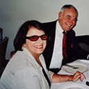 "Air Marshal Ray Funnell and wife Susanne at lunch with Arthur Hoyle DFC. noted author of several books and of the book ""The Lucky Airman"" the service life of Hughie Edwards, VC."