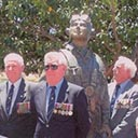 Perth, Nov. 2001, Unveiling statue of Sir Hughie Edwards.<br /> Left to Right: Jerry Bateman,DFC., Ross Gallop, Allan Forbes, Nev Johnson, Doug Arrowsmith, John Graham, Herb Dawson. Seated &ndash; Don Gardener ( S.A.), Norm Healy, John Currie.