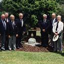 Members of 460 Squadron, Queensland gathered with their memorial on Kingsford&ndash;Smith Drive, Brisbane Airport , Armistice Day, 1999.<br />   Left to right: Ian Vickers, Jack McQueen, Roy Brough, Don Cummings, Jack Williams, Laurie Woods, Jim Crabb, Eddie McKane, Jim Petersen, Bob Clarke, Col Wheatley.