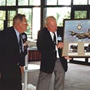 Presentation to Amberley Air Base Officers' Mess on the Anniversary of VE Day, 8th May 2000 by former members Laurie Woods, President of the Queensland Branch of 460 Squadron RAAF Association, assisted by Sgt. Bill Young and Flying Officer Bill Gourlay DFC