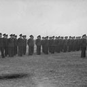 Squadron being addressed by Air Vice Marshall Wrigley, Commanding Officer RAAF England.